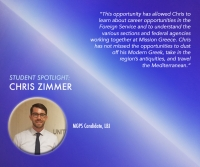 Student Spotlight: Chris Zimmer interns at the U.S. Embassy in Athens